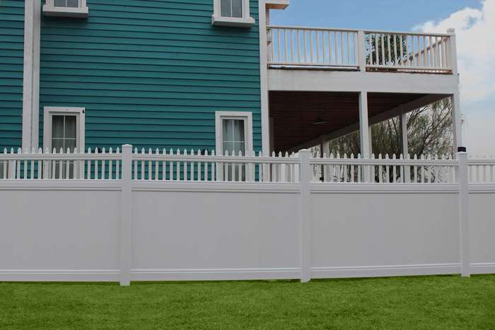 White Picket Privacy Fence Panel Kit