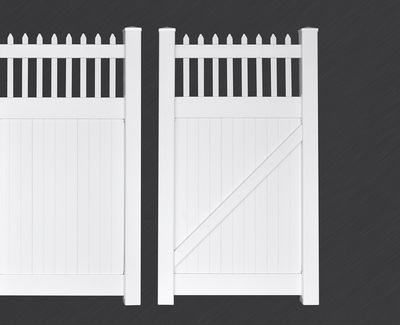White Picket Privacy Fence Gate