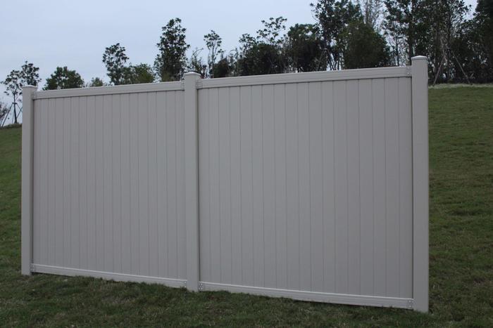 Tan Belmont Privacy Vinyl Fence Panel